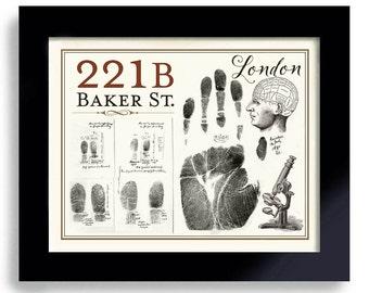 Sherlock Holmes, Microscope, Fingerprint, Art Print, 221B Baker Street, London England, Detective Mystery Geekery