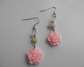 ROSE with Mixed QUARTZ and JASPER Chip Dangle  Earrings