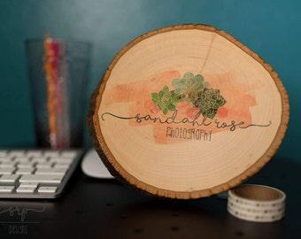 Wood slice logo art
