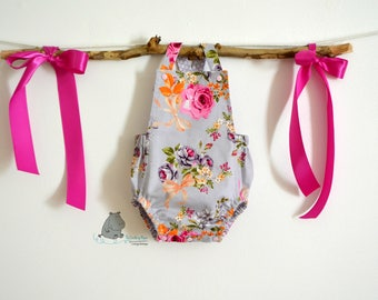 Baby Sun Suit,  Baby Clothes, Infant Romper,  Baby Bubble Romper, Sun Suit, Floral Romper, CPSC Compliant, made by The Corduroy Hippo