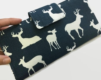 Women's Wallet, Deer, Credit Card Organizer, Wallet, Blue Wallet, Credit Card Holder