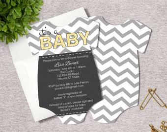 Baby Shower Invitations - Chevron Invitations - Gender Neutral - Set of 25 Die Cut Gender Neutral Baby Shower Invitations