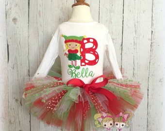 Christmas Elf outfit - 1st Christmas outfit - Christmas tutu outfit - elf tutu outfit - custom embroidered Christmas outfit for girls