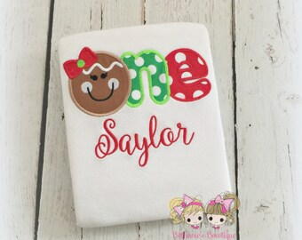 Christmas Birthday Shirt - First birthday outfit for girl or boy - Gingerbread birthday shirt - Gingerbread face- custom embroidery