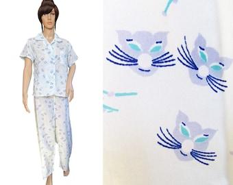 1950s Pajamas // Vintage 50s Pajamas // Cats Pajamas // Vintage Cat Pajamas // Elaine Sklar Pajamas M/L