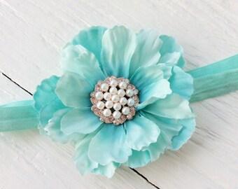 Mint baby girl headband toddler headband flower headband matilda jane m2m flower infant newborn headband baby gift for girl