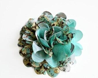 Sale Teal Floral Chiffon Flower. 1 Flower