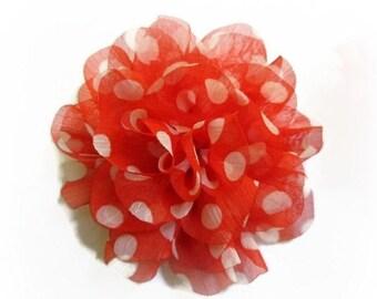 Sale Orange Polka Dot Flower. Orange Chiffon Flower. 1 Pc. PF1006