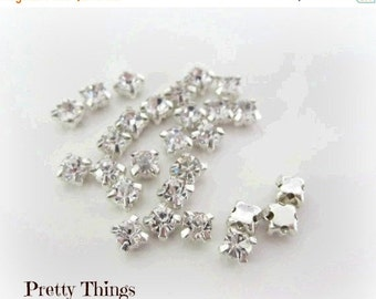 Sale 3mm Sew on Rhinestones . Small Glass Rhinestones. 50 Pcs