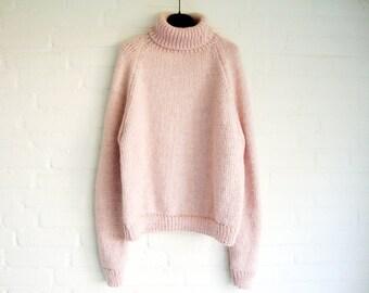 Pink Handknitted Turtleneck Sweater Raglan Soft Winter Powder Pink Wool Acryl