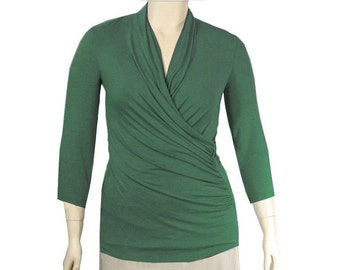 Plus Size Wrap Top - Draping Ruched Shirt-All Natural Fiber Jersey -Womens Made to Order Size-Choice of Color -XL,2X,3X,4X,5X,6X