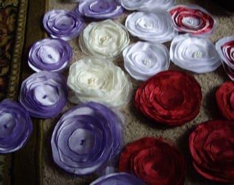 23 Fabric Flowers Handmade with beaded centers bulk flowers