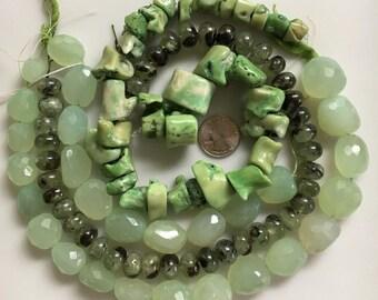 Bead Destash, Mixed Lot, Green Coral, Green Chalcedony, Green Moss Agate