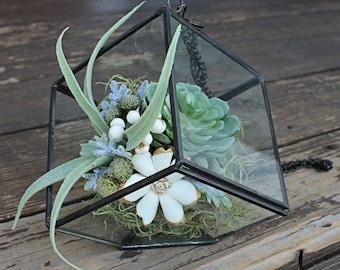 Artificial Succulent Terrarium Air Plant Arrangement, Faux Flowers, Sola Flowers, centerpiece, modern home decor, house warming, wedding