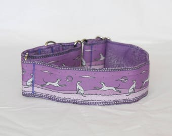 """2"""" Martingale Dog Collar Greyhounds Playing - Purple & Lavender"""
