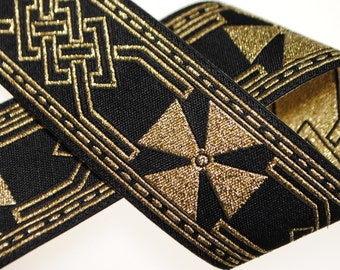 Celtic Cross Jacquard Trim 1.25 inches wide - Black and Gold - Two, Five, or Ten Yards
