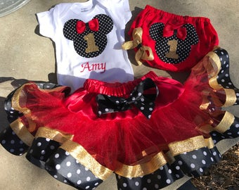 Twins Triplets Minnie Mouse Birthday Tutu Top Hat Outfit Disney World Land Vacation