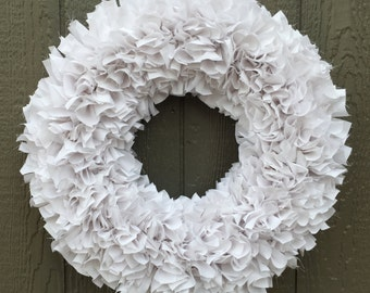 White Wreath - Rag Wreath - Muslin Wreath - Door Wreath - Indoor Wreath - Wedding Wreath - Shabby Wreath - Cottage Wreath - Baby Wreath
