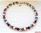 Poker cards pattern bead crochet necklace white, golden, red and black seed beads