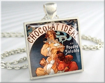 Mucha Artwork Necklace, Alphonse Mucha Hot Chocolate, Vintage Ad Charm, Resin Jewelry, Gift Under 20, Square Silver, History Gift (748SS)