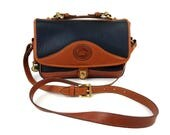 Vintage Dooney & Bourke All Weather Leather Carrier Shoulder Bag // Large Navy and Tan Cross-Body Adjustable Strap Purse DB AWL Handbag