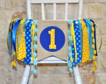 Finding Dory inspired first birthday highchair rag banner, blue yellow aqua, high chair or table birthday decor 1st birthday cake smash prop