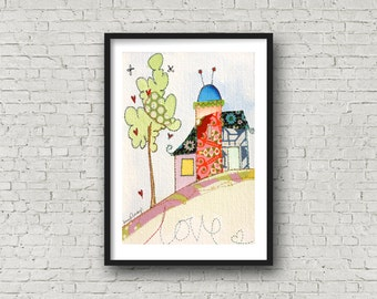 Home Sweet Home - Love - Home on a hillside - Love Home - Print