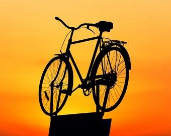 Bicycle in the sunset  cross stitch pattern chart, modern cross stitch, colorful pattern, jpeg pattern, needlecraft pattern,orange and black