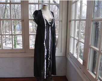 WELCOME SPRING SALE Ravishing Black Swiss Dot Peignoir Set/Vintage 1970s/Long Ruffled Night Gown and Robe/Black and White Semi Sheer Lingeri