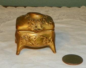 Antique Mini Weidlich Brothers Box Jewel Glove trinket Jewelry Casket Art Nouveau ormolu Victorian miniature