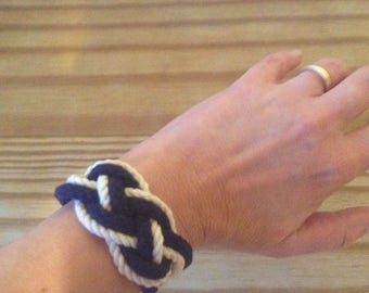 Sailors knot blue and White cotton rope bracelet 2 strand