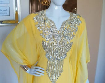 Canary Yellow Embellished Sheer Caftan