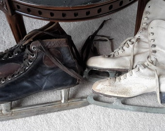 Vintage adult leather ice skates Men's 11 1/2 black/brown and Woman's white size 7