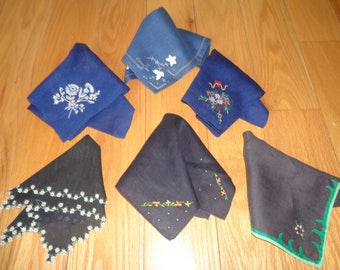 Vintage Handkerchief Collection of 3 Navy Blue and  3 Black Fine Cotton Embroidered Handkerchiefs in Very Good Condition