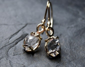 Clear Herkimer Diamond Drop Earrings in 14kt Solid Yellow Gold, recycled gold