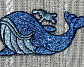 "Iron on Applique 4 Medium Blue Whales  2 1/2"" x 1.25""  Super Cute   Ships Free Inside US"