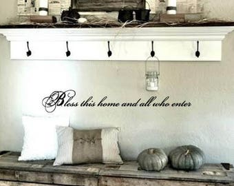 FAMILY Wall Quotes Decal - Bless this home and all who enter  -  Vinyl Wall Art - Wall sayings