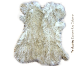 Faux Fur Shaggy Sheepskin Throw Rug - Pelt Design Shag Carpet - Off White with Black or Brown Tips - Original Fur Accents Designer Rugs USA