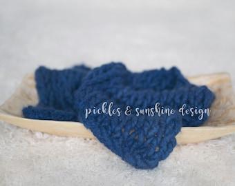 Super soft plush OCEAN BLUE Organic ALPACA luxury big knit soft layer, ready to ship newborn prop, sitter session knit layer
