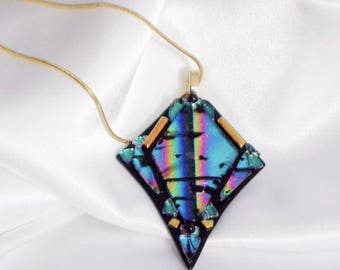 RAINBOW MAGIC Dichroic fused glass jewelry pendant with necklace
