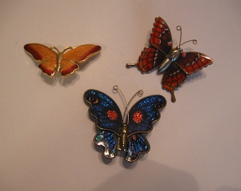Three Colorful Enameled Butterfly Pins