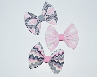 Fabric Hairbows, Set of 3 Hairbows, Ready to Ship Hair CLips, RTS