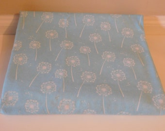 Flannel Fabric - Light Blue with White Flowers