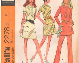 1970 - McCalls 2278 Vintage Sewing Pattern Size 10 Bust 32 1/2 Dress Darted Short Long Sleeves Yoke Mini Back Zip Pants Side Zip