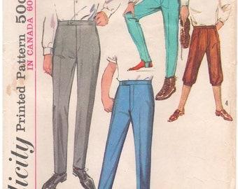 1964 - Simplicity 5694 Vintage Sewing Pattern Boy Teen Size 14 Waist 27 Pants Trousers Slacks Ski Knickerbockers Cuffs Stirrup Pleats