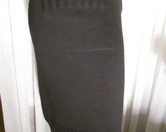 Reserve for Maxine----Vintage Ladies BLACK Knit/Leather Trim Hour Glass SKIRT by Miu Miu of Italy
