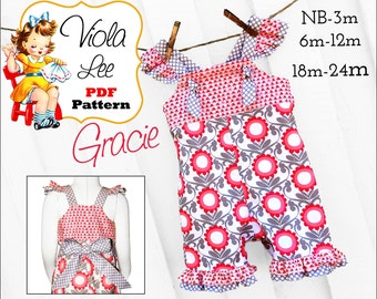 Gracie Baby Romper Pattern, Baby Sewing Pattern, pdf Girls Romper Pattern, Infant Romper Pattern, Long, Short Romper, Infant Sewing Pattern