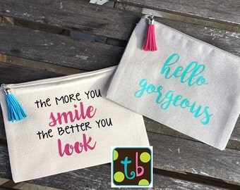 Personalized Quote Makeup Bags Canvas Bag Bridesmaid Wedding Party Gift