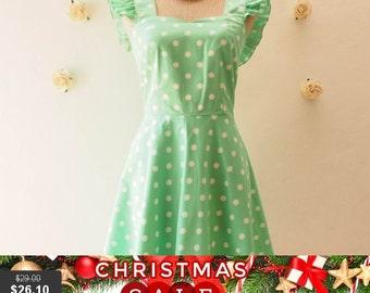 Christmas SALE SALE Seafoam Green Polka Dot Dress Bridesmaid Dress Retro vintage Ruffle Sleeve Dress Cute Tea Party Dress Retro Dress -Si...