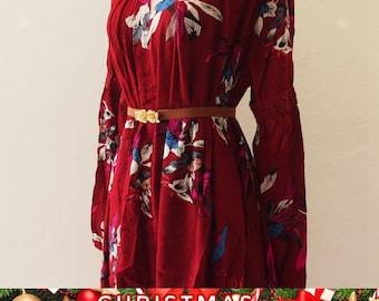 Christmas SALE Bohemian Dress, Boho Dress Asymmetric Hem Dress, Boho Floral Dress Maroon Red Over Size Camping Girl Look, Maternity Dress...